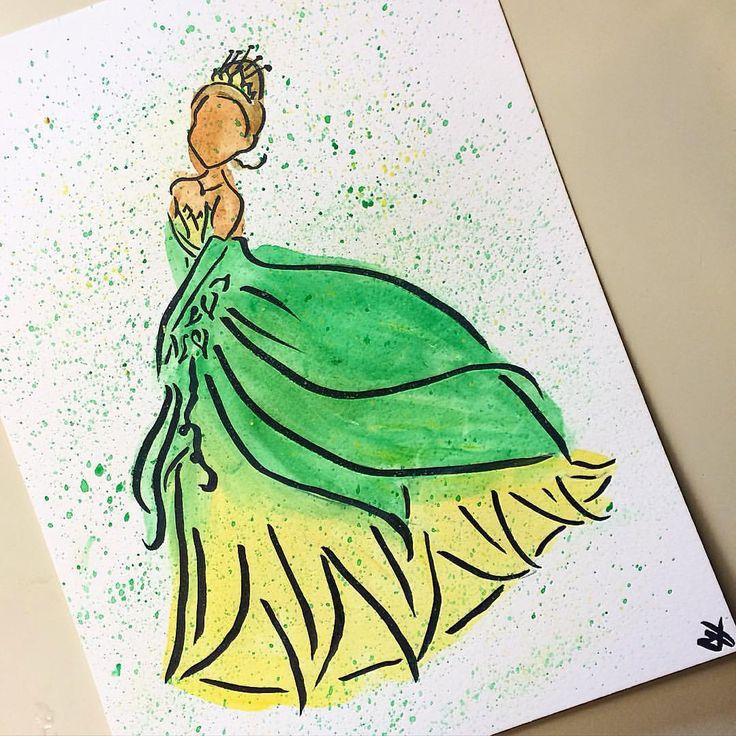 Princess Tiana from The Princess and the Frog in watercolor! #Tiana #princesstiana #disneyprincess #princessandthefrog #disney #disneyart #disneyartshare #disneyarts #watercolor #art #pen #doodle #paint #painting