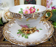 ROSINA TEA CUP AND SAUCER FLOWERED PATTERN TEACUP GOLD GILT