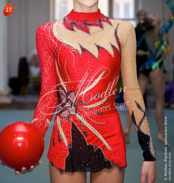 Rhythmische Sportgymnastik Anzug 27 mit Swarovski von Modlen, $169,99