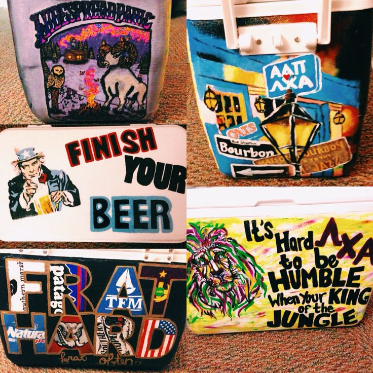"Lambda Chi Alpha painted fraternity cooler  1. Widespread Panic  2. (The top) Uncle Sam [finish your beer]  3. FRAT HARD frat often  4. Personalized New Orleans 5. Hard to be HUMBLE when you're KING of the JUNGLE ΛΧΑ (I am completely aware that ""your"" is wrong it was an accident)"