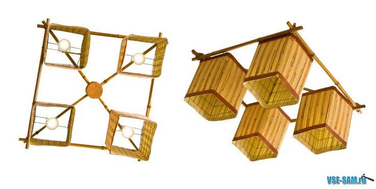 Поделки из бамбука. Бра, люстра торшер своими руками из бамбука.