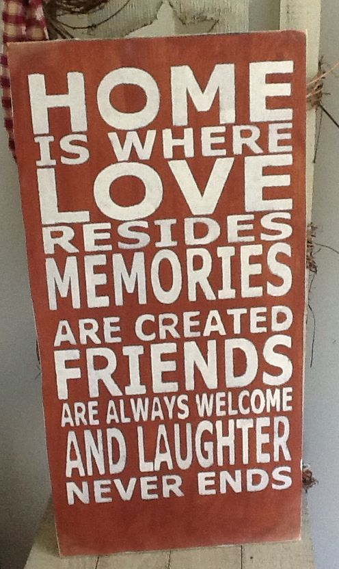 Home is Where Love Resides wooden primitive sign, family rules sign