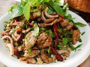Nam Tok (Thai Spicy Beef Salad)..very simple, easy to make, grilled beef with shallots, lime juice, onions, chilis, eaten with sticky rice. A paleo dish!