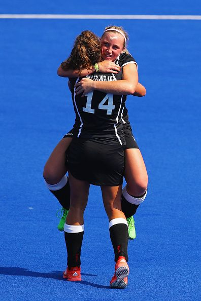 Janne MullerWieland and Nike Lorenz of Germany celebrate defeating New Zealand…
