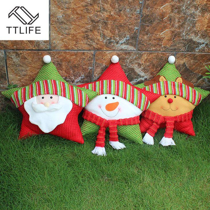 TTLIFE Decoraciones para el Hogar de la Felpa de Navidad Estrella de Cinco puntas de Almohada Cojín En Forma de Muñeco de Nieve de Santa Alces Kid Regalos Adornos Ventana(China (Mainland))