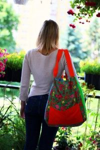 casual bag SPRING BIRD, embroidered, pocket in front page