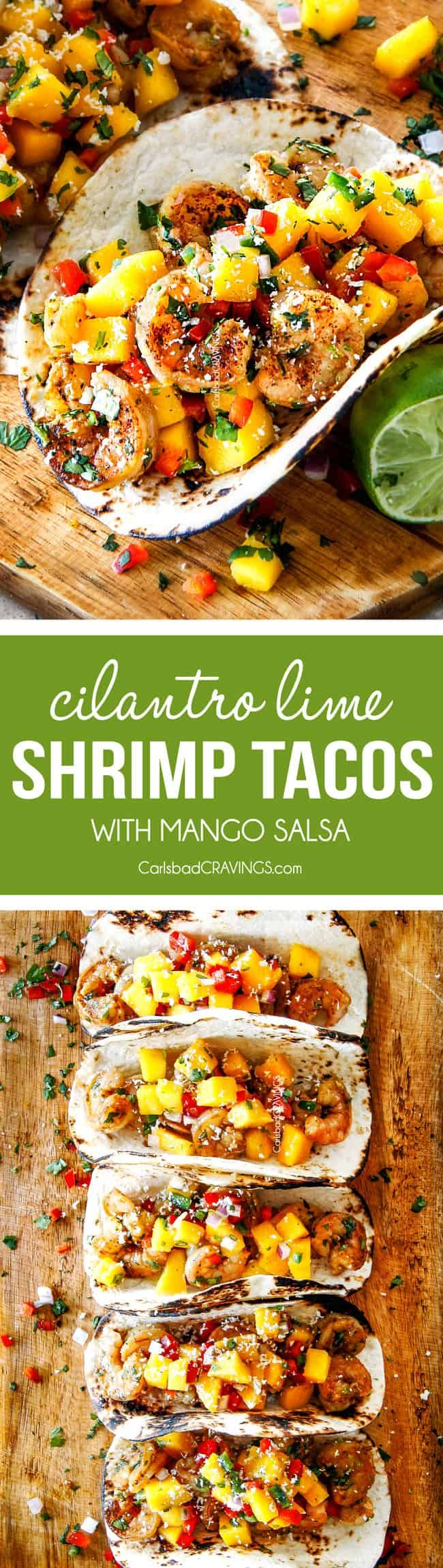 Cilantro Lime Shrimp Tacos EXPLODING with tangy, punchy flavor complimented by sweet refreshing Mango Salsa and silky Avocado Crema on your table in 35 minutes!  You can prep the toppings ahead of time for a super quick and easy weeknight dinner that tastes better than any restaurant! via @carlsbadcraving