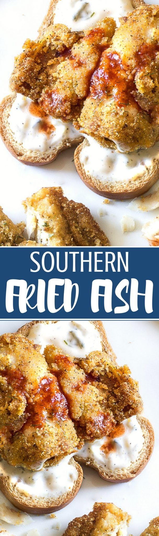 Classic southern fried fish is lightly seasoned and fried until golden then served with bright tartar sauce. So tender, flaky and soft but crisp. So delicious! #friedfish #friedfood #whitingfish #southernfriedfish #fish