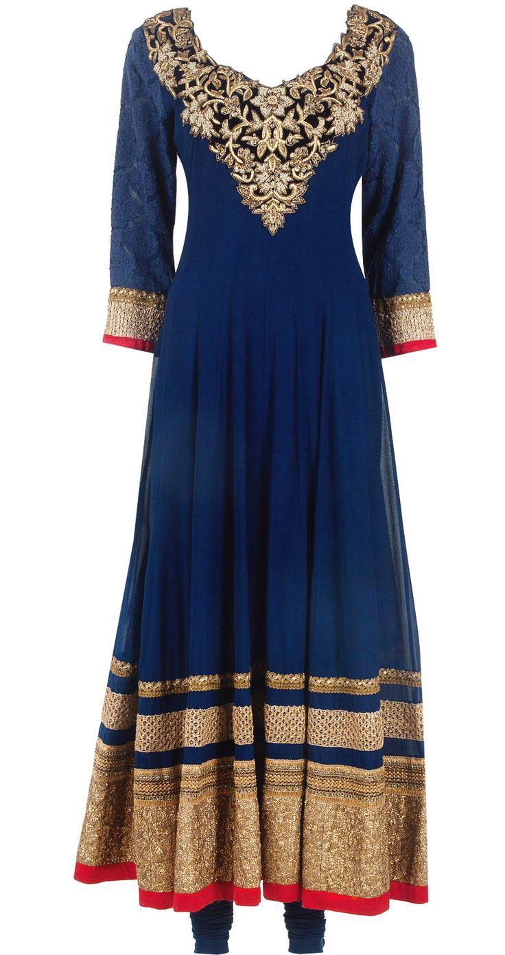 Oxford blue embellished kalidaar set by ANEESH AGARWAAL. Shop at http://www.perniaspopupshop.com/whats-new/aneesh-agarwaal-oxford-blue-embellished-kalidaar-set-anac0813alkl.html