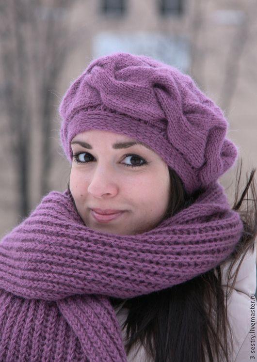 Шапка шарф, шапка и шарф, женская шапка, шапка женская, шапки, женские шапки, теплая шапка, шапка лиловый, шапка, длинный шарф, женский шарф, шарфы женские, теплый шарф, шапка шарф комплект