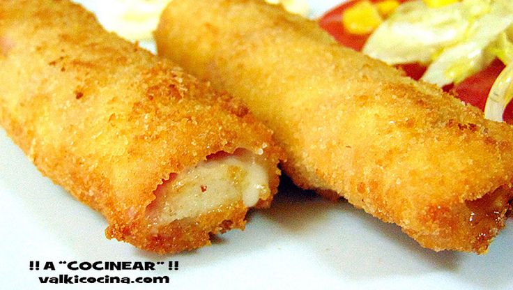 Rollos de jamón york y queso rellenos de pollo | Cocinar en casa es facilisimo.com