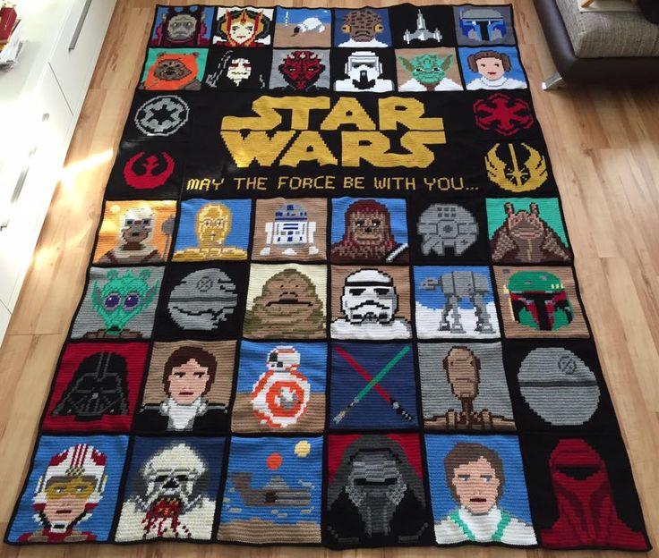 Amazing Crochet  Star Wars Blanket by  Kat Ry! patterns used... https://www.etsy.com/de/listing/203169617/set-of-2-star-wars-samplers-parody-cross?utm_source=Pinterest&utm_medium=PageTools&utm_campaign=Share