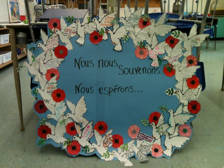 Remembrance Day Wreath. My grade 5 class and I discussed Remembrance Day, its importance, what we remember, sacrifices that were made and hopes and dreams for the future. On each dove the students wrote their own hope and dream for the future. Once they were done, they decorated their poppy which was added amongst the doves. This activity really got the students thinking.