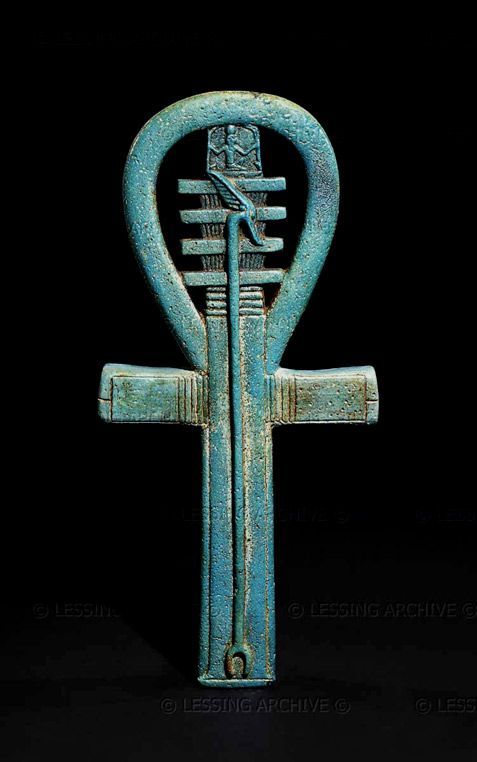"Faience amulet in the shape of an ankh, 25th dynasty to Late Period, about 700-500 BCE.  It represents a wish, probably for the king, of  "" life, power and stability for millions of years "".  The amulet was acquired by Lord Kitchener in the Sudan, probably at Gebel Barkal and originated in a temple.  ( lessing Archive )"