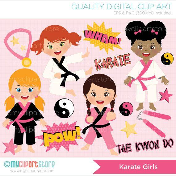 Tae Kwon Do / Karate girl Clip Art / Digital by MyClipArtStore
