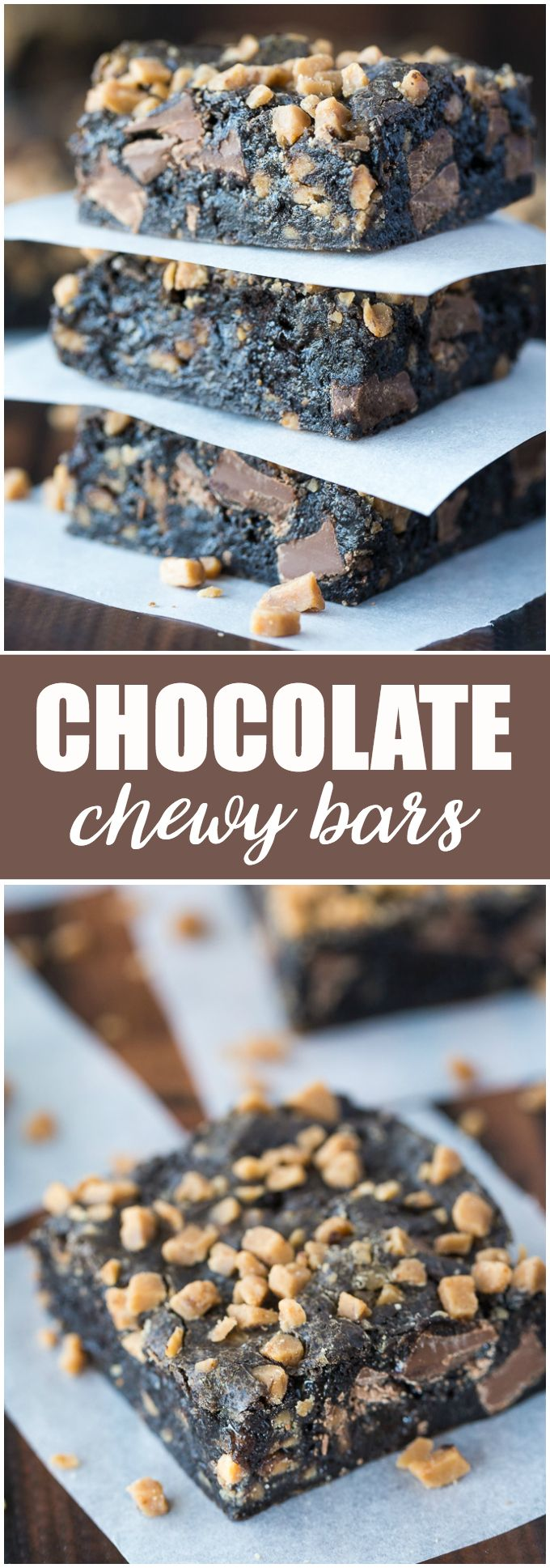 Chocolate Chewy Bars - Only four ingredients in these simple, sweet bars. You'll love how good they taste and easy they are to make!