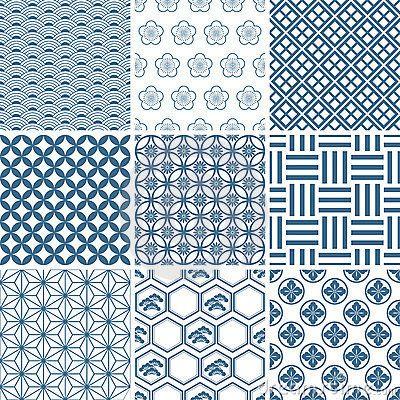 Japanese traditional pattern set