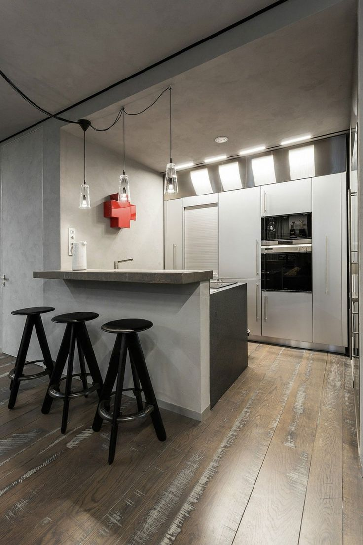 Modern, Rustic and Industrial Meet In A Chic Moscow Studio