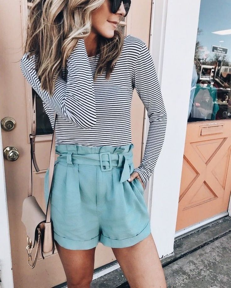 Striped Top With Cute Turquoise Shorts We Are Want To Say Thanks If You Like To Share This Post To Another People Via Your Faceb Fashion Style Fashion Outfits