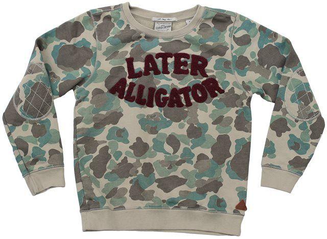 Scotch&Soda - camouflage sweater alligator - Camouflage sweater met wijnrode teddy opdruk Later Alligator. Voor onze stoere jongens. 100% katoen.