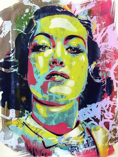 by BToy . just love it . Joan Crawford. Stencil, screenprint and watercolor on paper. 2013