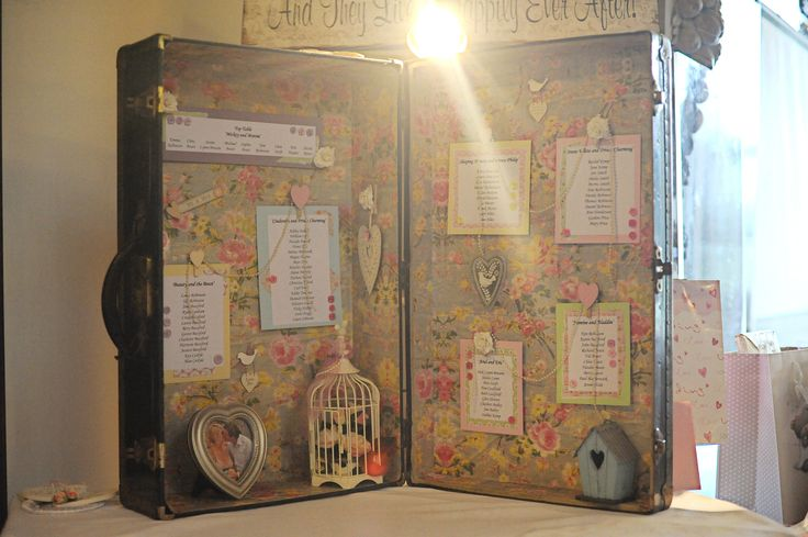 Vintage suitcase turned into a pretty seating plan