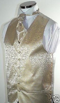 Classic Champagne  Scroll  Men's/Boys' Wedding Waistcoat & Matching Cravat
