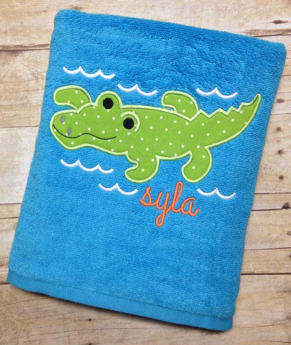 Monogrammed Beach Towel Alligator Applique Bath by HaydenandJules
