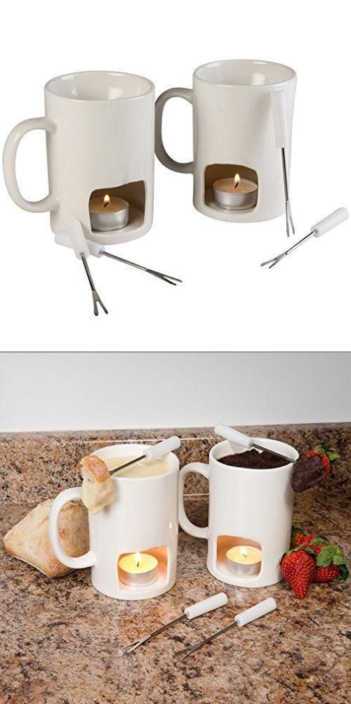 Fondue for two, with none of the big clean-up. These mugs are the perfect size! Add a tea light in the bottom and your favorite dip, and viola – candlelight dinner for two!
