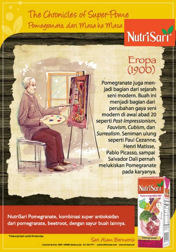 #Pomegranate, #Art, #History, Pomegranate juga menjadi bagian dari sejarah seni modern. Buah ini menjadi bagian dari perubahan gaya seni modern di awal abad 20 seperti Post-Impressionism, Fauvism, Cubism, dan Surrealism. Seniman ulung seperti Paul Cezanne, Henri Matisse, Pablo Picasso, sampai Salvador Dalli pernah melukiskan buah pome pada karyanya.