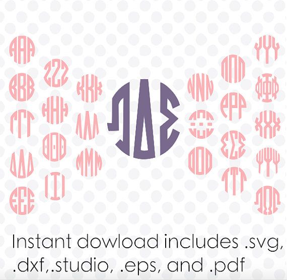 circle monogram font svg greek alphabet with ampersand instant download zipped pdfdxfsvg andstudio files vector cutting to do list greek