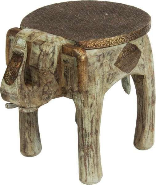 Beistelltisch Holz Elefant Mit Polierter Metallplatte