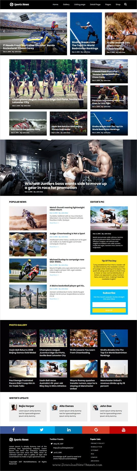 WorldWideNews is clean and modern design responsive #WordPress theme for #sports #News and #magazine website with 9 niche homepage layouts download now..