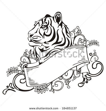 Tiger with vintage ribbon frame tattoo