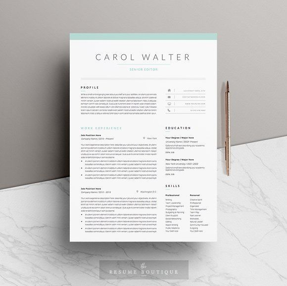 5 page Resume Template | Upgrade by The.Resume.Boutique on @creativemarket Professional printable resume / cv cover letter template examples creative design and great covers, perfect in modern and stylish corporate business design. Modern, simple, clean, minimal and feminine style. Ready to print us letter and a4 layout inspiration to grab some ideas. In psd, indd, docs, ms word file format.