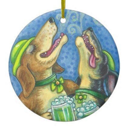 Irish Hounds DOG ORNAMENT Round - st. patricks day gifts irish ireland green fun party diy custom holiday