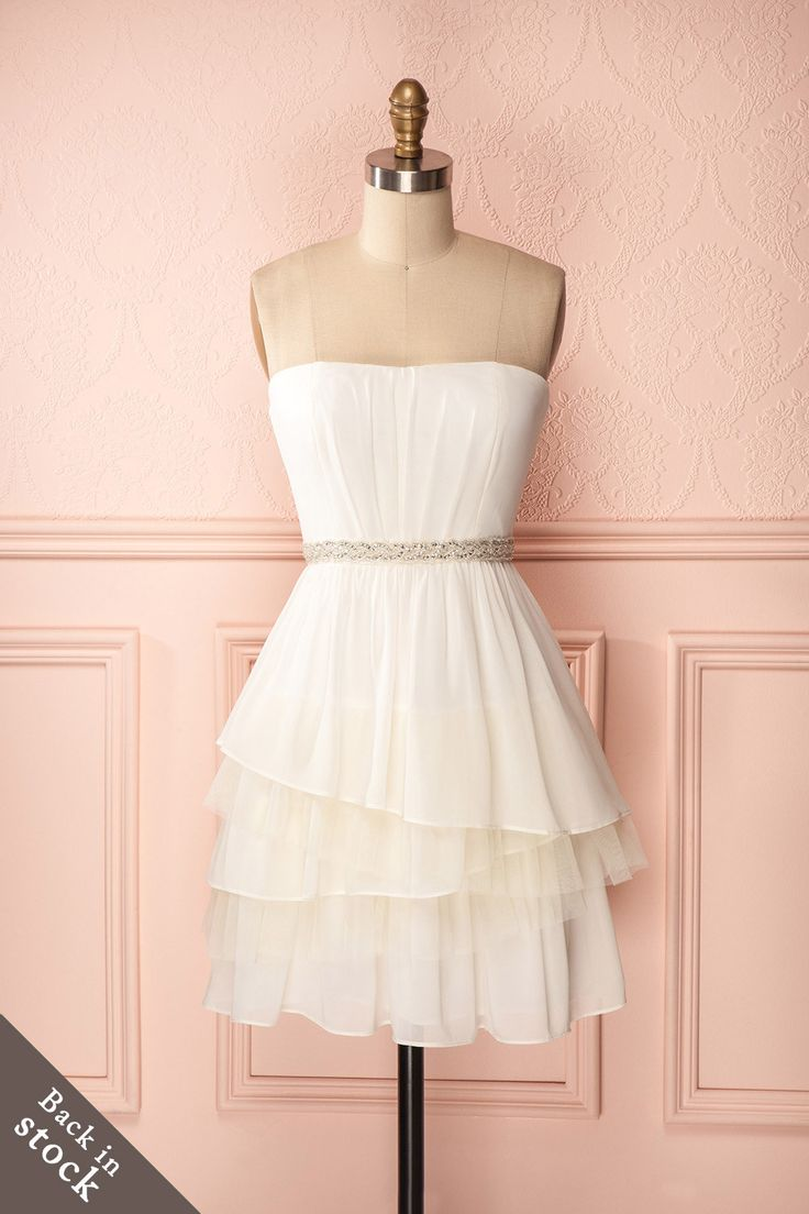 Calista - Ivory veil bustier dress with clear zircon waistline