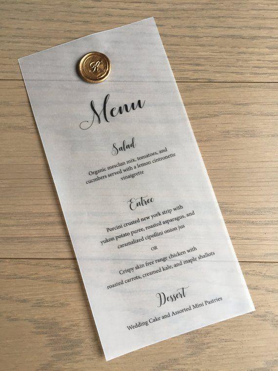 cfd6a6799bea1 Vellum Wedding Menu | Wedding Dinner Menu | Vellum Menu with Wax ...