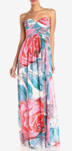 Donna Morgan Women's Laura Strapless Long Chiffon Printed Dress