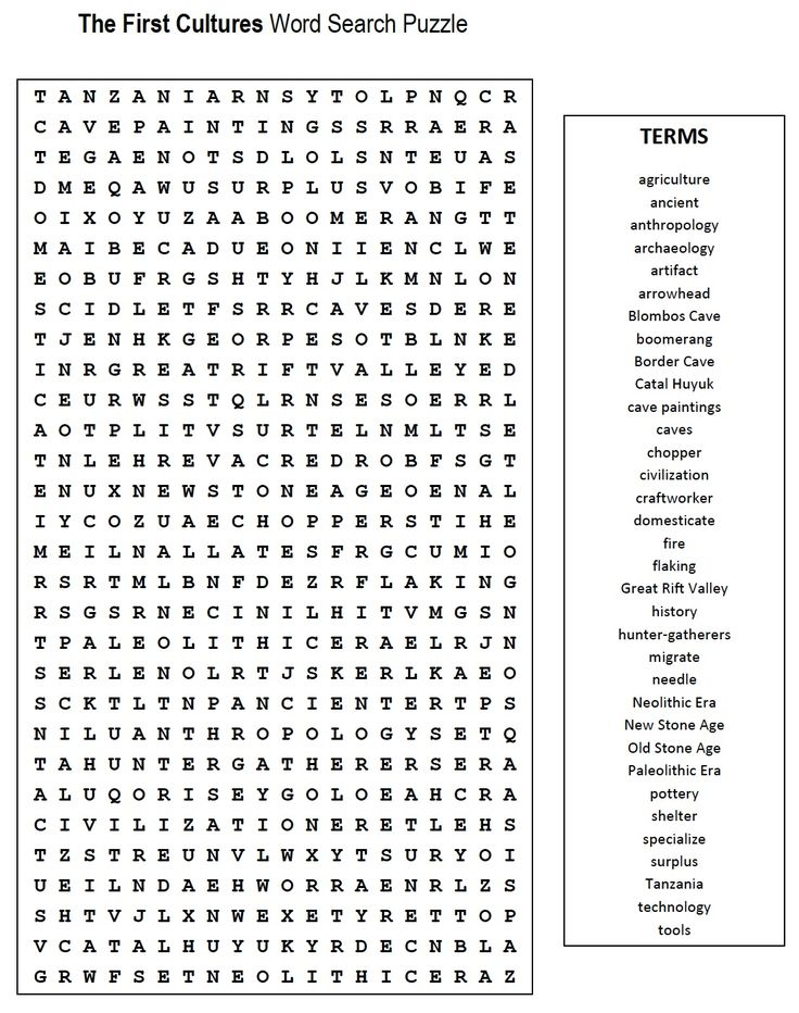 First Cultures Word Search Teaching Etc Word Search