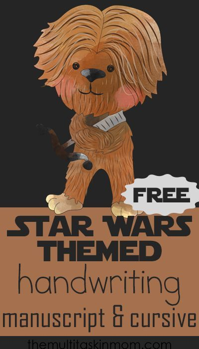 FREE Star Wars Themed Handwriting Practice in Manuscript and Cursive