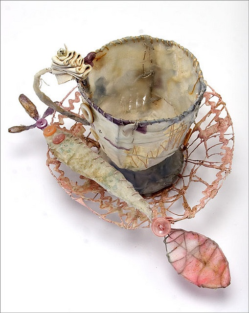 'Teacup, saucer and spoon' by Priscilla Jones - wax, wire, silk, paint and found materials