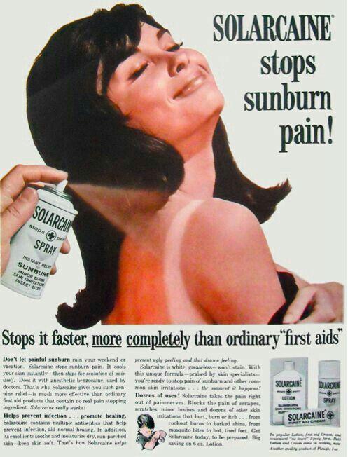 Solarcaine Sunburn Pain Spray, Lotion & Cream, 1966.