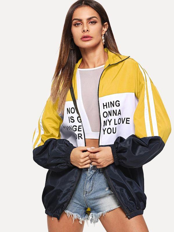SheIn Womens Plus Colorblock Long Sleeve Graphic Print Zipper Windbreaker Jacket