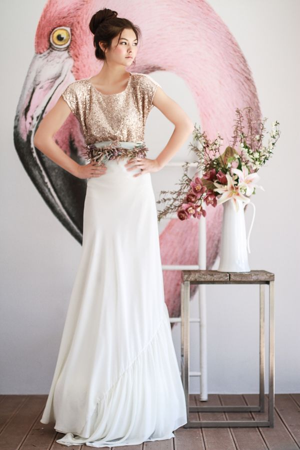 Sequin top and long white skirt - beautiful