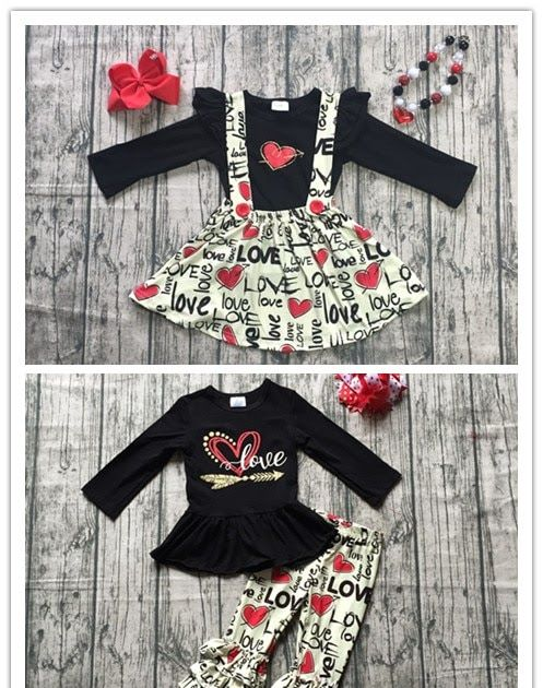 93c5c5d49da08 Best Seller 2 designs Fall/winter baby girls Valentine's day clothes  children black top with skirts 2 pieces sets outfits with accessories  #makeup #hair