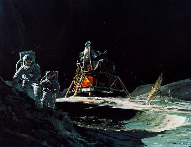 S70-31774 (March 1970) --- An artist's concept by Teledyne Ryan Aeronautical, San Diego, California, showing two Apollo 13 astronauts exploring the surface of the moon.  In the center background is the Lunar Module (LM).  Apollo 13 will land in the rugged highlands just north of Fra Mauro.  The crew of the Apollo 13 lunar landing mission will be astronauts James A. Lovell Jr., commander; Thomas K. Mattingly II, command module pilot; and Fred W. Haise Jr., lunar module pilot.  Lovell and H...