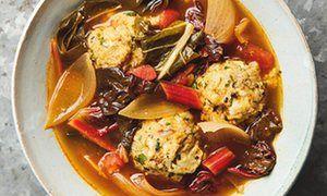 Yotam Ottolenghi's spicy chard soup with sourdough and feta dumplings.