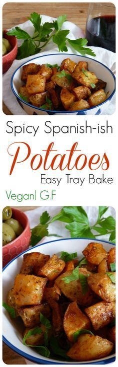 Spicy Spanish Potatoes! These taste just like Patatas Bravas that you get in little tapas places in Spain, but are oven baked. With yummy smoked paprika, a hint of herbs, this vegan recipe is so easy to make. Perfect as a side dish, or as part of a Tapas meal. Add Vegan Aioli for an even more authentic meal.