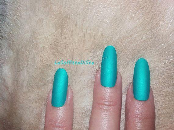 matte turquoise long oval nails almond blue di LaSoffittaDiSte